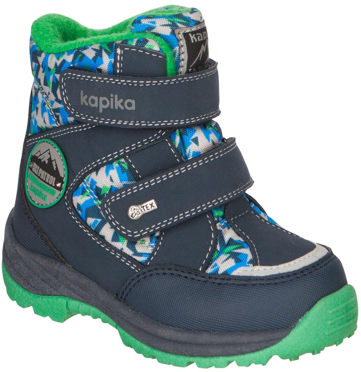 Ботинки для мальчика Kapika, цвет: темно-синий, зеленый. 41150-4. Размер 2541150-4Ботинки от Kapika придутся по душе вашему мальчику. Модель идеально подходит для зимы, сохраняет комфортный микроклимат в обуви как приношении на улице, так и в помещении. Верх обуви изготовлен из искусственной кожи со вставками из водонепроницаемого текстиля,оформленного абстрактным принтом. Два ремешка на застежке-липучке надежно зафиксируют изделие на ноге. Боковая сторона, язычок иверхний ремешок декорированы логотипом бренда.Подкладка и стелька изготовлены из натуральной шерсти, что позволяет сохранить тепло и гарантирует уют ногам. Подошва с рифлениемобеспечивает идеальное сцепление с любыми поверхностями.Такие чудесные ботинки займут достойное место в гардеробе вашего ребенка.