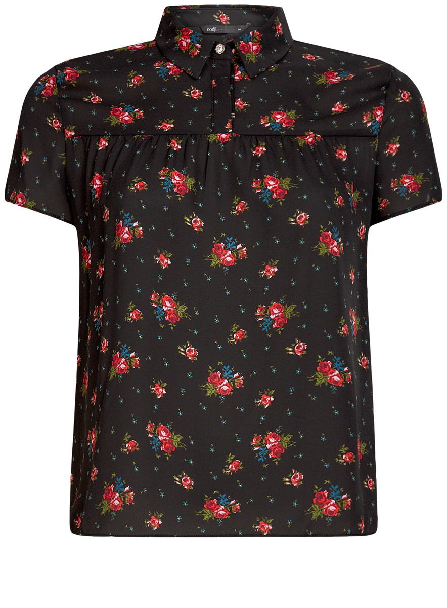 Блузка женская oodji Ultra, цвет: черный, красный. 11400427/36215/2941F. Размер 36 (42-170)11400427/36215/2941FЖенская блузка oodji Ultra имеет свободный крой и короткий рукав, декорирована пуговицей со стразом под воротничком.