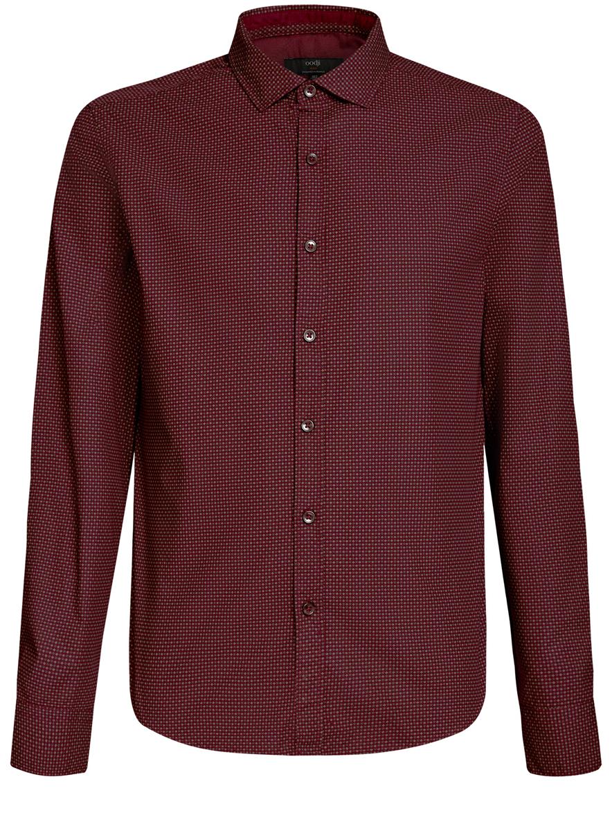 Рубашка мужская oodji Lab, цвет: бордовый. 3L310137M/19370N/4930G. Размер L (52/54-182)3L310137M/19370N/4930GСтильная мужская рубашка oodji Lab, выполненная из натурального хлопка, позволяет коже дышать, тем самым обеспечивая наибольший комфорт при носке. Модель классического кроя с отложным воротником и длинными рукавами застегивается на пуговицы по всей длине. Манжеты рукавов оснащены застежками-пуговицами. Изделие оформлено оригинальным принтом.