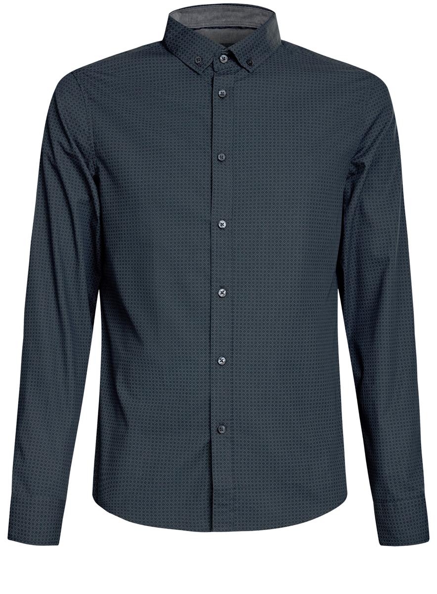 Рубашка мужская oodji, цвет: темно-зеленый. 3L310135M/44425N/6E23G. Размер XXL (58/60-182)3L310135M/44425N/6E23GСтильная мужская рубашка oodji выполнена из натурального хлопка. Модель с отложным воротником и длинными рукавами застегивается на пуговицы спереди. Манжеты рукавов дополнены застежками-пуговицами. Оформлена рубашка оригинальным мелким принтом.