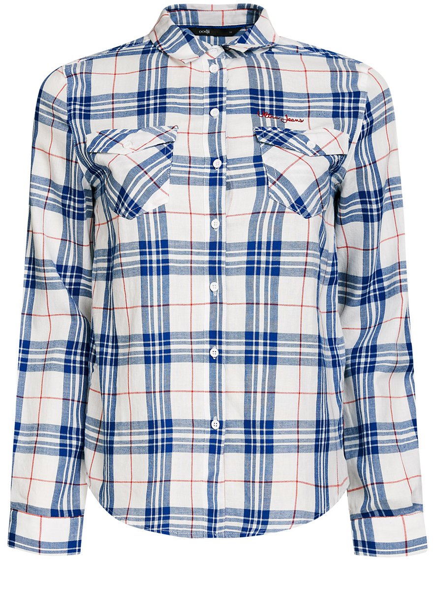 Рубашка женская oodji Ultra, цвет: белый, синий. 11400433/43223/1275C. Размер 42 (48-170)11400433/43223/1275CСтильная женская рубашка oodji Ultra выполнена из натурального хлопка. Рубашка с отложным воротником и длинными рукавами застегивается на пуговицы. На груди изделие дополнено двумя накладными карманами с клапанами на пуговицах. Оформлена модель принтом в клетку.