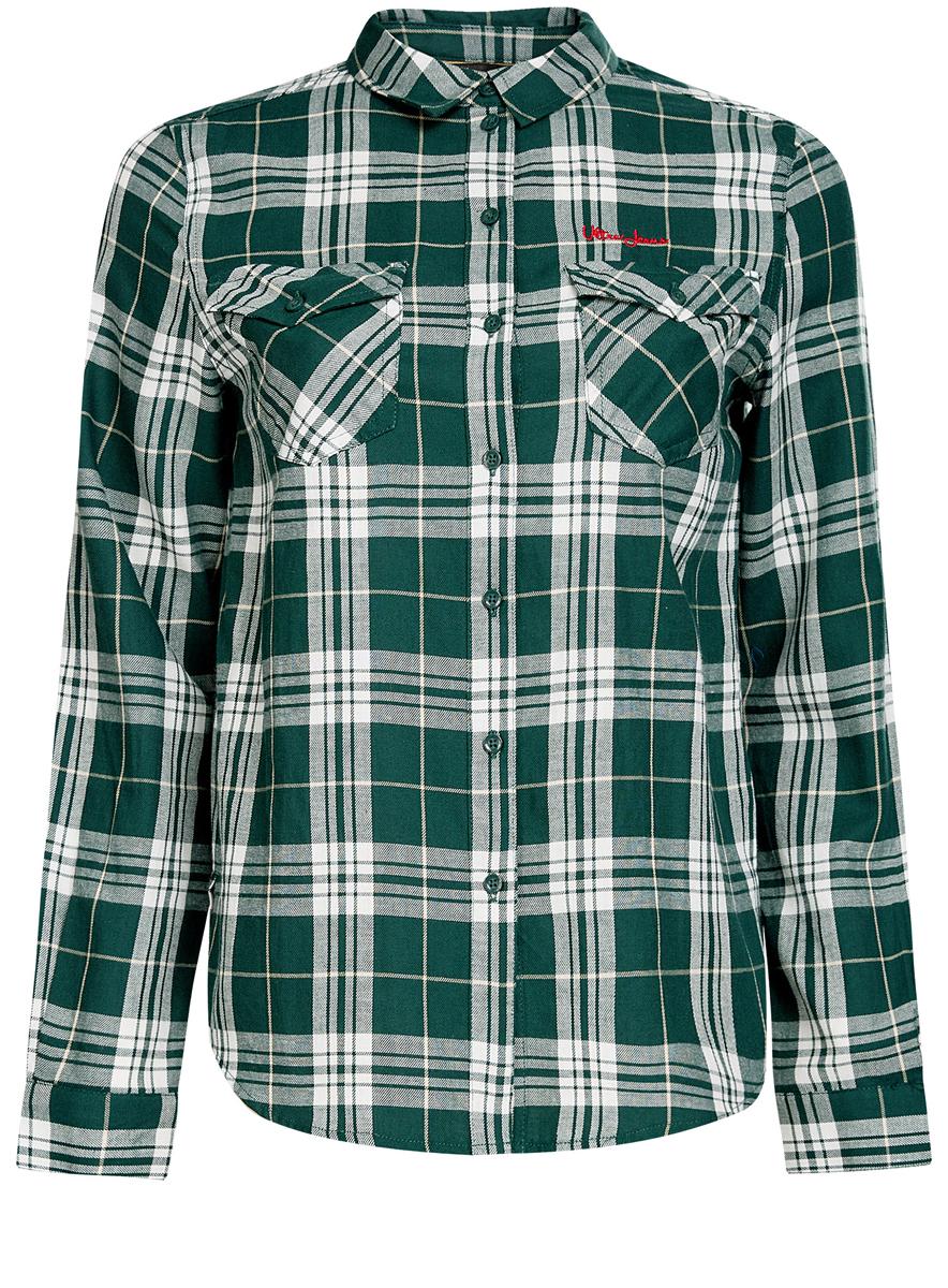 Рубашка женская oodji Ultra, цвет: зеленый. 11400433/43223/6912C. Размер 34 (40-170)11400433/43223/6912CСтильная женская рубашка oodji Ultra выполнена из натурального хлопка. Рубашка с отложным воротником и длинными рукавами застегивается на пуговицы. На груди изделие дополнено двумя накладными карманами с клапанами на пуговицах. Оформлена модель принтом в клетку.