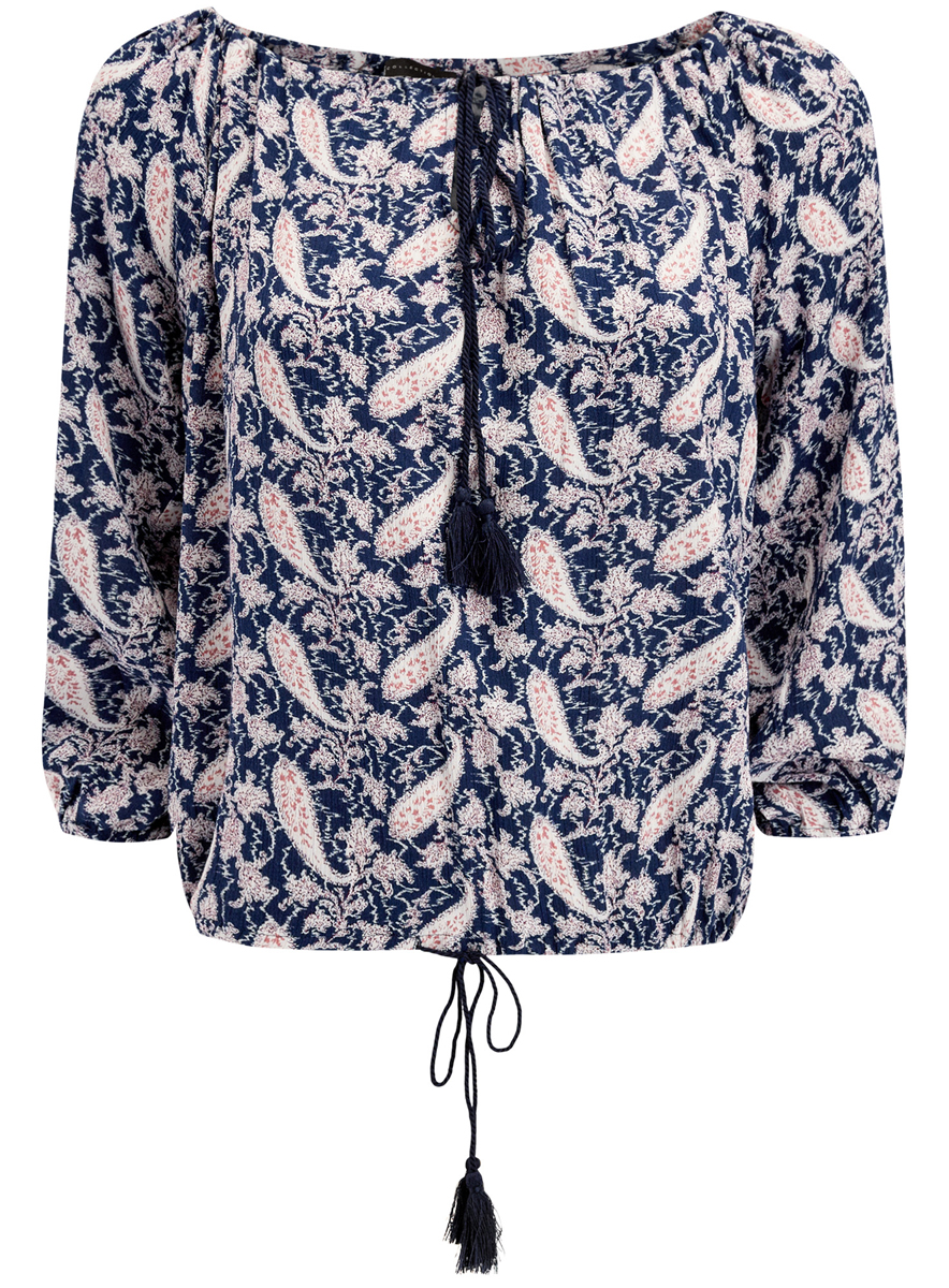 Блузка женская oodji Collection, цвет: темно-синий. 21424003-2/45283/7912E. Размер 38 (44-170)21424003-2/45283/7912EЖенская блуза oodji Collection с рукавами-реглан длиной 3/4 и вырезом горловины лодочкой выполнена из натуральной вискозы. Блузка имеет свободный крой, горловина и низ дополнены шнурками-кулисками с длинными завязками с кистями на концах. Модель оформлена контрастным узором пейсли.