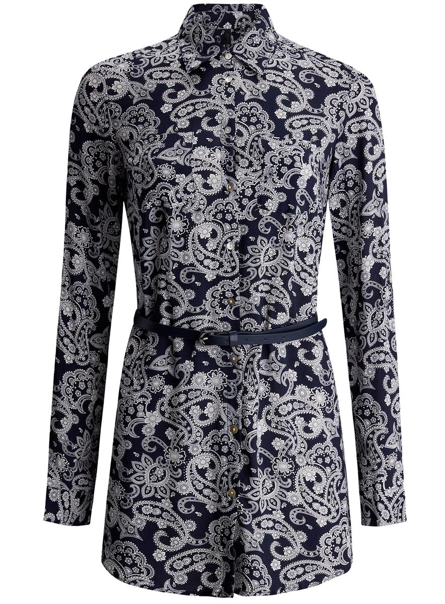 Блузка женская oodji Collection, цвет: темно-синий, белый. 21412057-4/24681/7912E. Размер 42 (48-170)21412057-4/24681/7912EСтильная женская рубашка oodji Collection выполнена из качественной вискозы. Модель с отложным воротником и длинными рукавами застегивается на пуговицы по всей длине. Рубашка удлиненной модели дополнена стильным ремешком из искусственной кожи и двумя накладными карманами спереди. Манжеты рукавов оснащены застежками-пуговицами, а также их можно сделать покороче с помощью внутреннего хлястика на пуговице. Модель оформлена контрастным принтом с узорами. Рукава дополнены манжетами с кнопками.