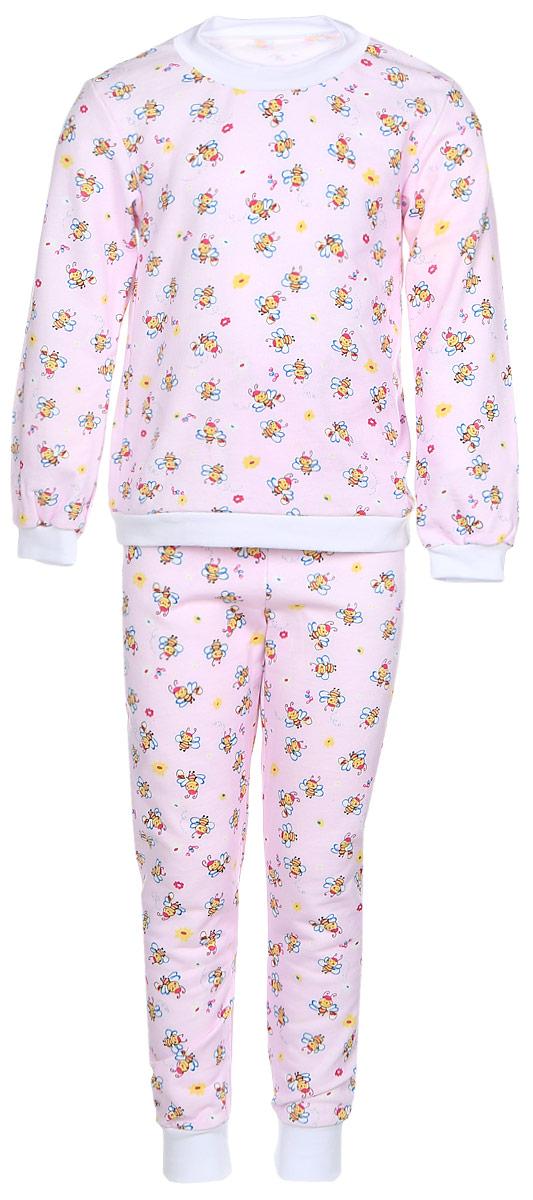 Пижама детская Фреш Стайл, цвет: светло-розовый. 21-5872. Размер 8621-5872Детская пижама Фреш Стайл выполнена из натурального хлопка. Изнаночная сторона изделия с мягким и теплым начесом. Футболка с длинными рукавами имеет круглый вырез горловины, оформленный трикотажной резинкой. На рукавах предусмотрены мягкие манжеты. Низ изделия дополнен широкой трикотажной резинкой.Брюки имеют эластичный пояс. Брючины дополнены манжетами.Пижама оформлена принтом.