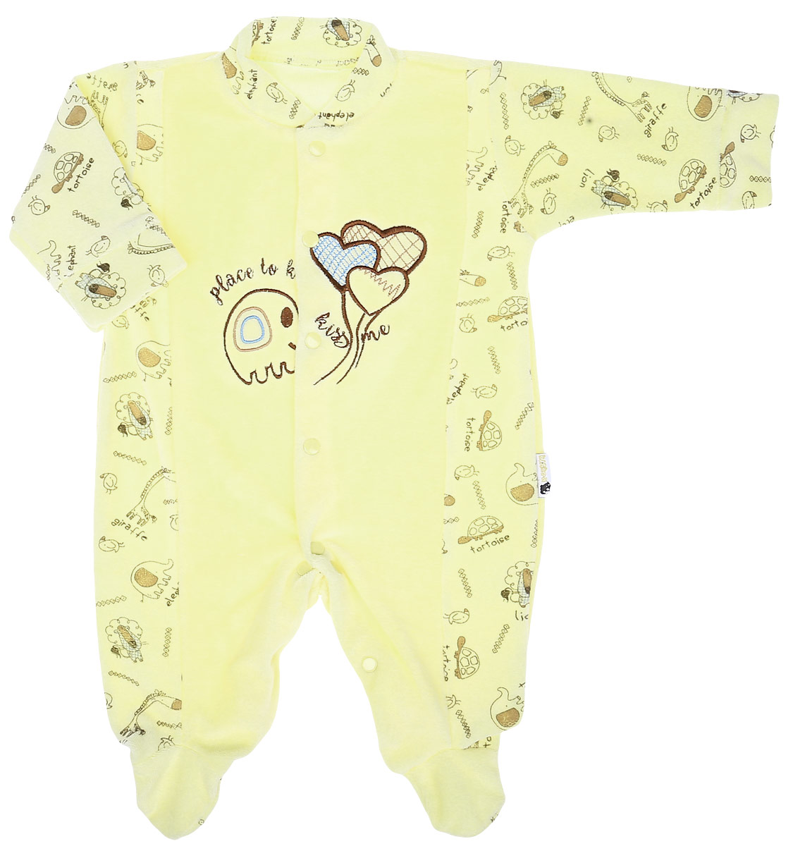 Комбинезон детский Клякса Слоник и шар, цвет: желтый. 55К-531. Размер 6255К-531Детский комбинезон Клякса Слоник и шар соответствует особенностям жизни младенца в ранний период, не стесняя и не ограничивая его в движениях. Изделие выполнено из мягкого велюра. Комбинезон с круглым вырезом горловины, длинными рукавами и закрытыми ножками имеет застежки-кнопки от горловины до щиколоток. Рукава дополнены мягкими манжетами. Модель оформлена принтом, украшена вышивкой.