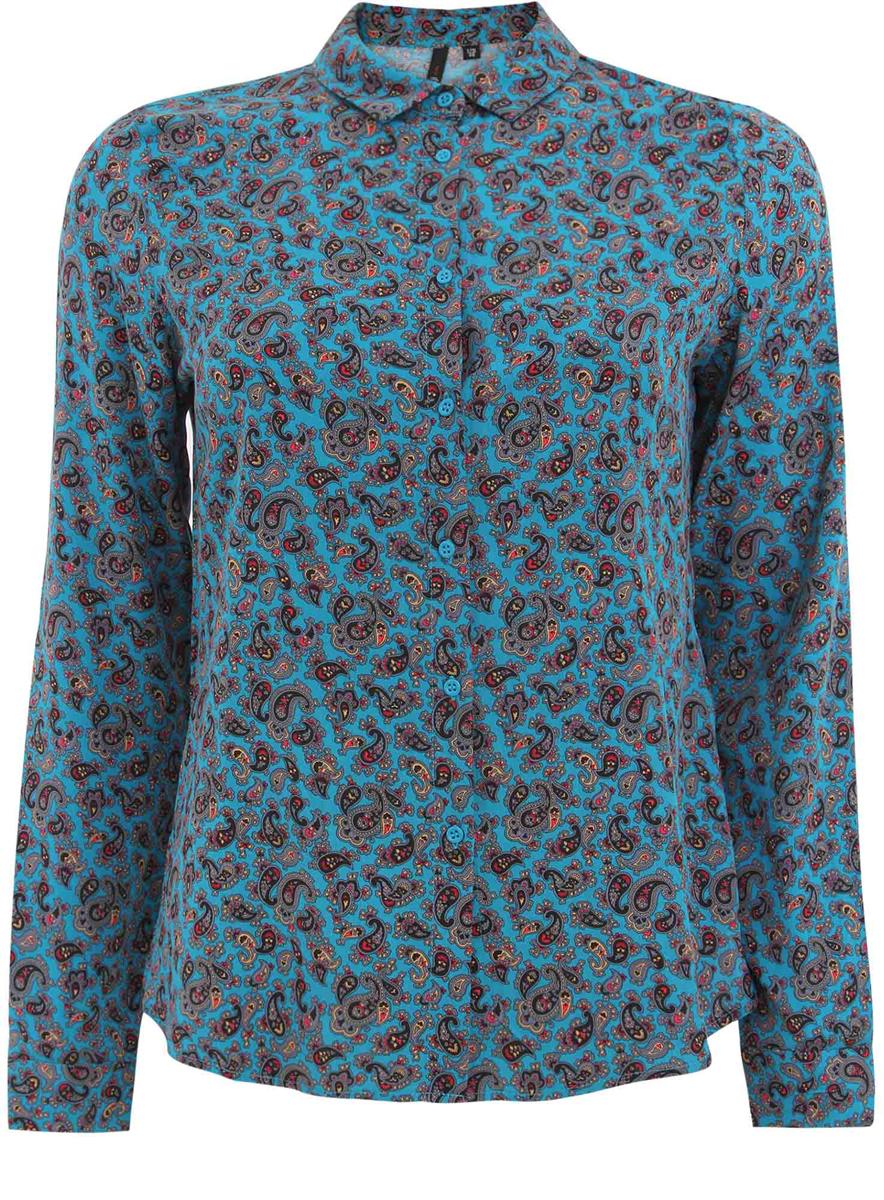 Рубашка женская oodji Ultra, цвет: темно-бирюзовый. 11411087/43606/7335E. Размер 38 (44-170)11411087/43606/7335EЖенская блузка oodji Ultra исполнена из легкой ткани. Блузка имеет длинные рукава, классический воротничок, застегивается спереди и на манжетах на пуговицы. Изделие плотно садится по фигуре.