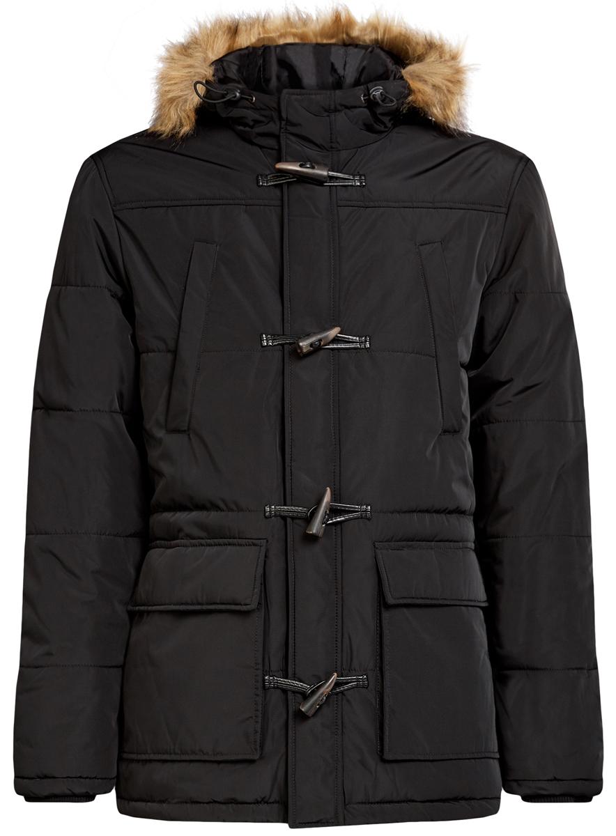 Куртка мужская oodji Lab, цвет: черный. 1L412026M/44449N/2900N. Размер XL (56-182)1L412026M/44449N/2900NСтильная мужская куртка oodji Lab изготовлена из высококачественного полиэстера. В качестве утеплителя используется полиэстер.Модель с несъемным капюшоном, оформленным искусственным мехом, застегивается на застежку-молнию и дополнительно на клапан с пуговицами и кнопками. Капюшон регулируется с помощью эластичного шнурка со стопперами. Спереди расположены четыре накладных кармана, два из которых с клапанами на кнопках, на груди - два прорезных кармана на кнопках, с внутренней стороны - накладной карман с клапаном на кнопке.Манжеты рукавов дополнены трикотажными напульсниками.