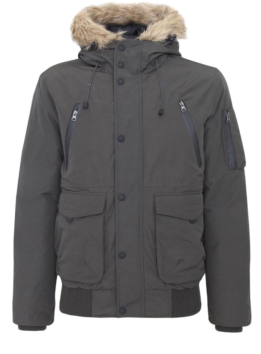 Куртка мужская oodji, цвет: серо-зеленый. 1L112008M/39881N/6600N. Размер S (46/48-182)1L112008M/39881N/6600NМужская куртка oodji выполнена из полиэстера с добавлением хлопка. В качестве утеплителя и наполнителя используется 100% полиэстер. Модель с несъемным капюшоном застегивается на застежку-молнию с защитой для подбородка и имеет ветрозащитную планку на кнопках. Край капюшона дополнен шнурком-кулиской со стоплерами и оформлен искусственным мехом. Рукава по низу имеют внутренние эластичные манжеты. Низ изделия дополнен вставкой из эластичного материала. Спереди расположено два накладных кармана с клапанами на липучках, два втачных кармана на застежках-молниях и два открытых, боковых кармана. С внутренней стороны расположен втачной карман на застежке-молнии. На левом рукаве находится три накладных кармана, один из которых на застежке-молнии, а два - без застежек.