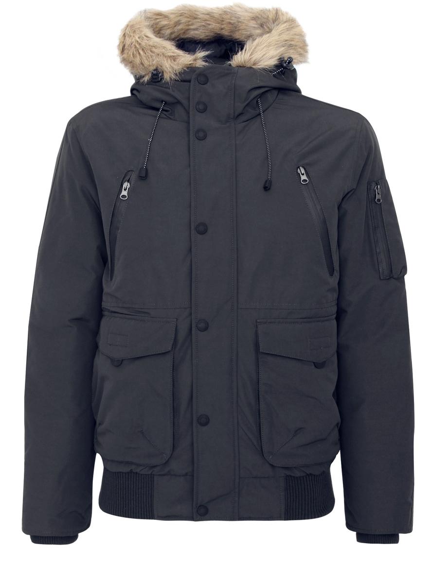 Куртка мужская oodji, цвет: черный. 1L112008M/39881N/2900N. Размер L (52/54-182)1L112008M/39881N/2900NМужская куртка oodji выполнена из полиэстера с добавлением хлопка. В качестве утеплителя и наполнителя используется 100% полиэстер. Модель с несъемным капюшоном застегивается на застежку-молнию с защитой для подбородка и имеет ветрозащитную планку на кнопках. Край капюшона дополнен шнурком-кулиской со стоплерами и оформлен искусственным мехом. Рукава по низу имеют внутренние эластичные манжеты. Низ изделия дополнен вставкой из эластичного материала. Спереди расположено два накладных кармана с клапанами на липучках, два втачных кармана на застежках-молниях и два открытых, боковых кармана. С внутренней стороны расположен втачной карман на застежке-молнии. На левом рукаве находится три накладных кармана, один из которых на застежке-молнии, а два - без застежек.