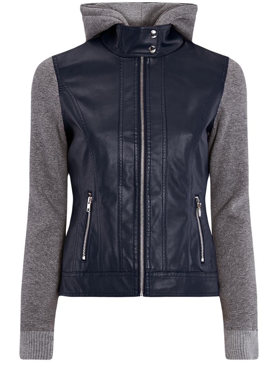 Куртка женская oodji Ultra, цвет: темно-синий, серый. 18A03003/31674/7923B. Размер 38 (44-170)18A03003/31674/7923BСтильная женская куртка выполнена из искусственной кожи, рукава и капюшон из мягкого трикотажа. Модель с воротником-стойкой и съемным капюшоном застегивается спереди на молнию и кнопки на воротнике. Капюшон пристегивается при помощи пуговиц. Спереди куртка дополнена двумя прорезными карманами на застежках-молниях.