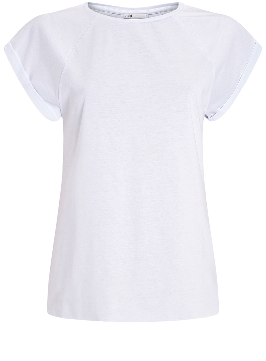 Футболка женская oodji Ultra, цвет: белый. 14707001-4B/46154/1000N. Размер L (48)14707001-4B/46154/1000NЖенская футболка выполнена из хлопка и оформлена принтом в полоску. Модель с круглым вырезом горловины и короткими рукавами реглан, дополненными отворотом.
