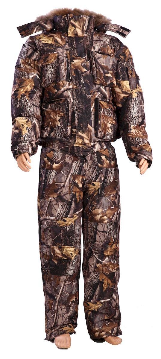 Костюм рыболовный мужской Cosmo-Tex Сапсан, цвет: коричневый. 4315. Размер 60/62, 182-188 см4315Костюм для холодного времени года из ворсовой, не шуршащей мембранной ткани состоит из куртки и полукомбинезона.- куртка с застежкой на молнию, закрытую ветрозащитной планкой на липучках;- комбинированный флисовый воротник-стойка;- капюшон пристегивается на молнию, по краю капюшона стяжка на резиновый шнур с фиксаторами;- капюшон со съемной опушкой из натурального меха; - рукава на манжетах с резинкой;- двухзамковая молния; - по низу подкладки расположены защитные юбочки с резиновой тесьмой;- низки брюк со шлицами и с вставками на липучке для удобства;- на поясе полукомбинезона удобные широкие шлевки под ремень;- количество карманов - 13.