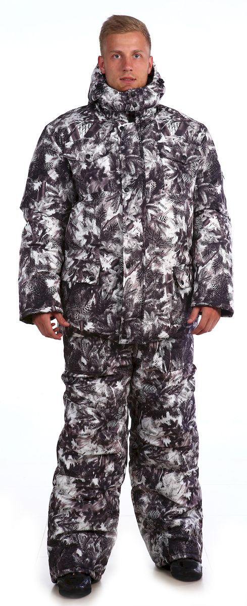 Костюм рыболовный мужской Skanson Кобра, цвет: белый, серый. 336. Размер 48/50, 170-176 см336Утепленный костюм из ветро-влагозащитной ткани незаменим для охоты, рыбалки или отдыха на природе в холодное время года, состоит из куртки и полукомбинезона. - куртка с удобными накладными карманами; - застежка на молнию и кнопки; - высокий воротник-стойка; - низ куртки фигурный, на подкладке имеется ветрозащитная юбка с резинкой; - съемный капюшон удобной формы регулируется резинкой с фиксаторами; - полукомбинезон с объемными карманами, с двухзамковой молнией, с усиленными наколенниками;- низ брюк со шлицами и с вставками на липучке для удобства. - на поясе полукомбинезона имеются удобные широкие шлевки под ремень;- по низу подкладки полукомбинезона расположены защитные юбочки с эластичной тесьмой;- количество карманов - 8