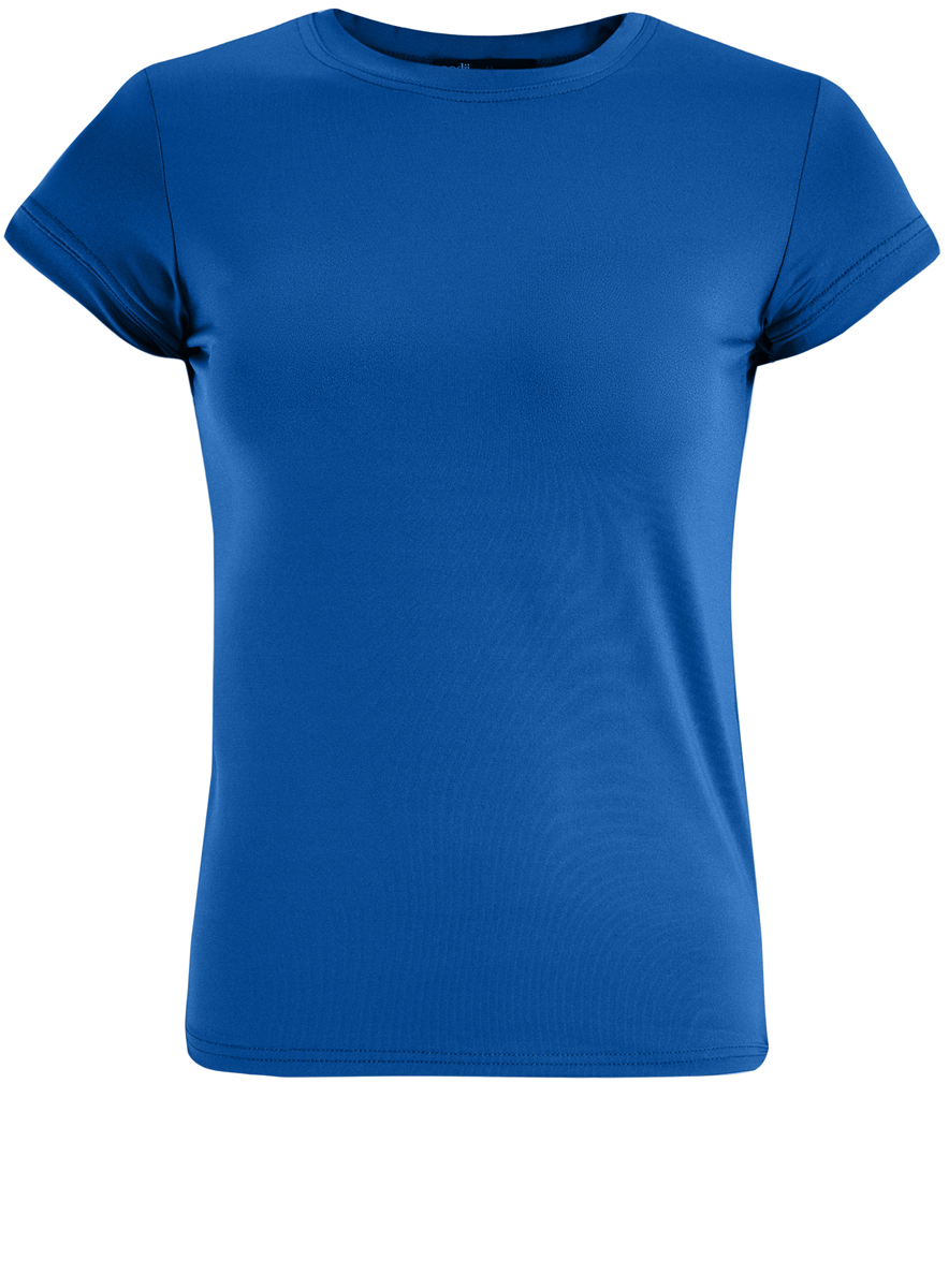 Футболка женская oodji Ultra, цвет: синий. 14701046/10577/7500N. Размер S (44)14701046/10577/7500NМодная женская футболка oodji Ultra изготовлена из эластичного полиэстера. Модель с круглым вырезом горловины и короткими рукавами выполнена в лаконичном дизайне.