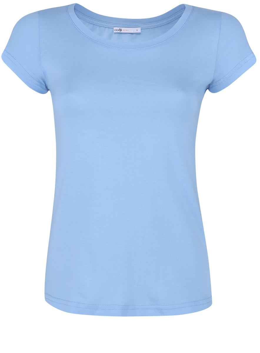 Футболка женская oodji Ultra, цвет: голубой. 14701008B/46154/7001N. Размер XL (50)14701008B/46154/7001NМодная женская футболка oodji Ultra изготовлена из натурального хлопка.Модель с круглым вырезом горловины и короткими рукавами выполнена в лаконичном дизайне.