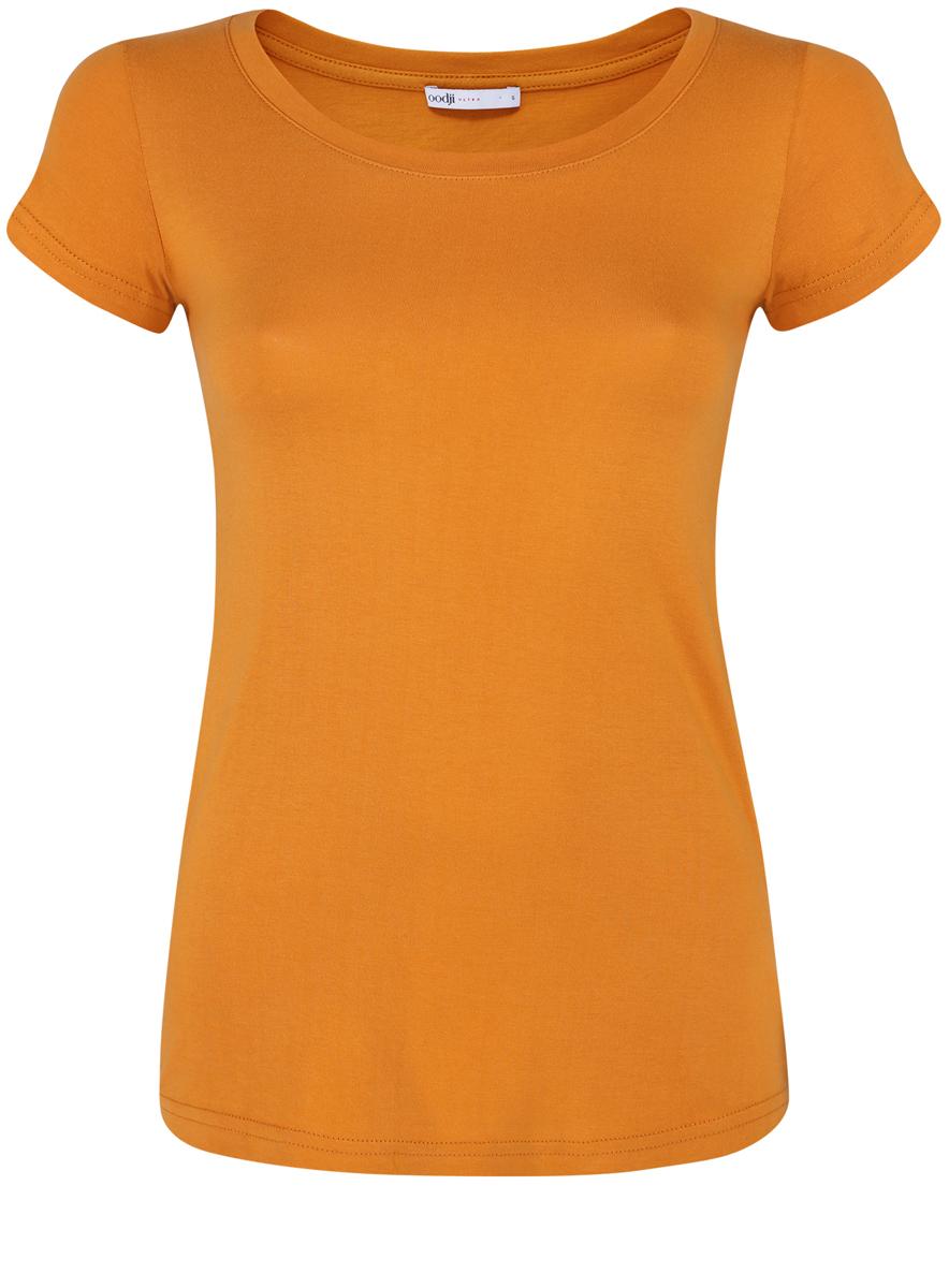Футболка женская oodji Ultra, цвет: темно-оранжевый. 14701008B/46154/5900N. Размер XS (42)14701008B/46154/5900NМодная женская футболка oodji Ultra изготовлена из натурального хлопка.Модель с круглым вырезом горловины и короткими рукавами выполнена в лаконичном дизайне.