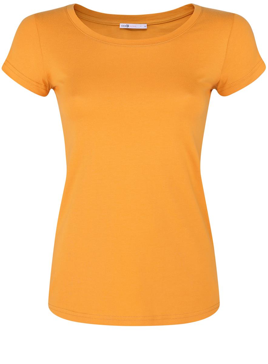 Футболка женская oodji Ultra, цвет: темно-желтый. 14701008B/46154/5200N. Размер XXS (40)14701008B/46154/5200NМодная женская футболка oodji Ultra изготовлена из натурального хлопка.Модель с круглым вырезом горловины и короткими рукавами выполнена в лаконичном дизайне.