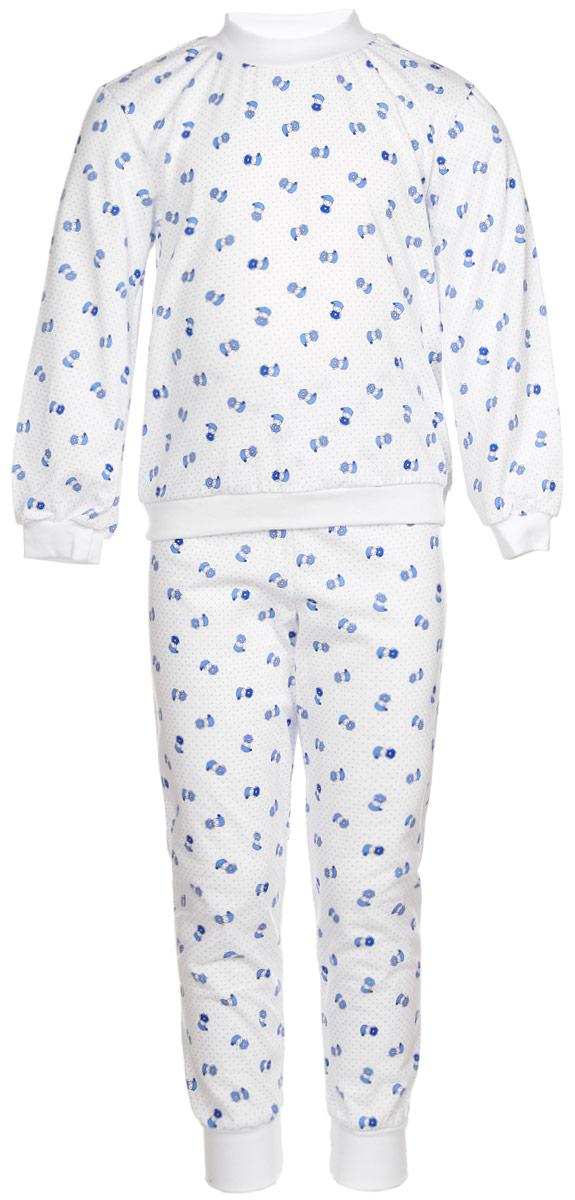 Пижама детская Фреш Стайл, цвет: белый. 10-5872. Размер 10410-5872Уютная детская пижама Фреш Стайл выполнена из натурального хлопка.Футболка с длинными рукавами имеет круглый вырез горловины, оформленный трикотажной резинкой. На рукавах предусмотрены мягкие манжеты. Низ изделия дополнен широкой трикотажной резинкой.Брюки имеют эластичный пояс. Брючины дополнены манжетами.Пижама оформлена принтом.