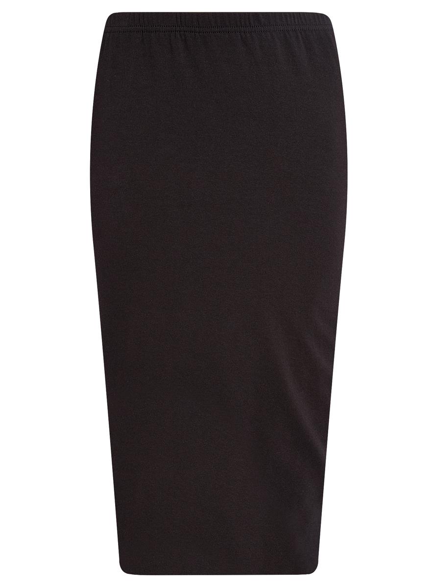 Юбка oodji Ultra, цвет: черный. 14101050/33595/2900N. Размер S (44)14101050/33595/2900NЭффектная юбка oodji выполнена из натурального хлопка, она обеспечит вам комфорт и удобство при носке.Юбка-карандаш двойная оформлена в поясе эластичной резинкой. Модель выполнена в лаконичном однотонном стиле.