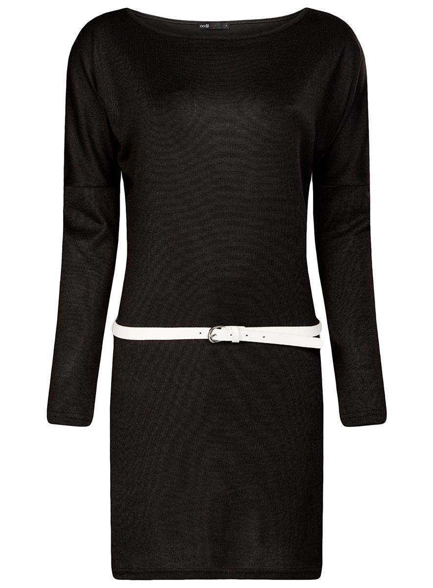 Платье oodji Ultra, цвет: черный. 14008010/15640/2900N. Размер M (46)14008010/15640/2900NСтильное платье oodji Ultra, выполненное из полиэстера с добавлением полиуретана, отлично дополнит ваш гардероб. Модель-миди приталенного силуэта имеет круглый вырез горловины и длинные рукава. В комплект входит ремешок из искусственной кожи с металлической пряжкой.