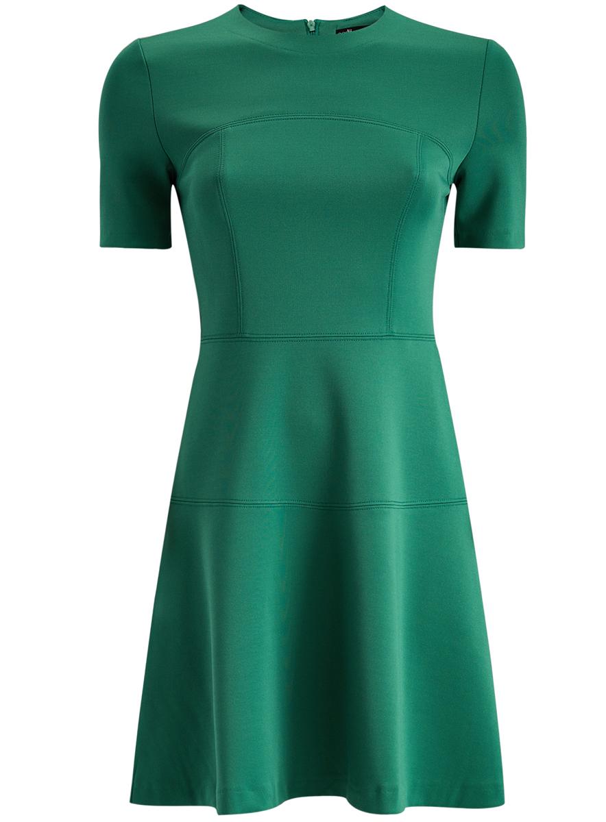 Платье oodji Ultra, цвет: изумрудный. 14001165/33038/6D00N. Размер M (46)14001165/33038/6D00NМодное платье oodji Ultra станет отличным дополнением к вашему гардеробу. Модель выполнена из полиэстера с добавлением полиуретана. Платье-миди с круглым вырезом горловины и короткими рукавами застегивается на скрытую застежку-молнию, расположенную на спинке.
