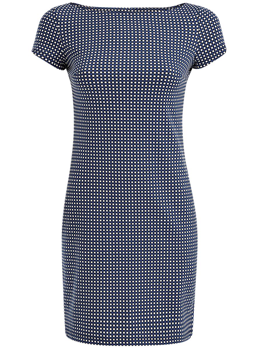 Платье oodji Ultra, цвет: синий, белый. 14001117-7/16564/7512G. Размер L (48)14001117-7/16564/7512GСтильное платье oodji Ultra, выполненное из качественного комбинированного материала, отлично дополнит ваш гардероб. Модель-мини с вырезом горловины в форме лодочки и короткими рукавами оформлена контрастным принтом в горох.