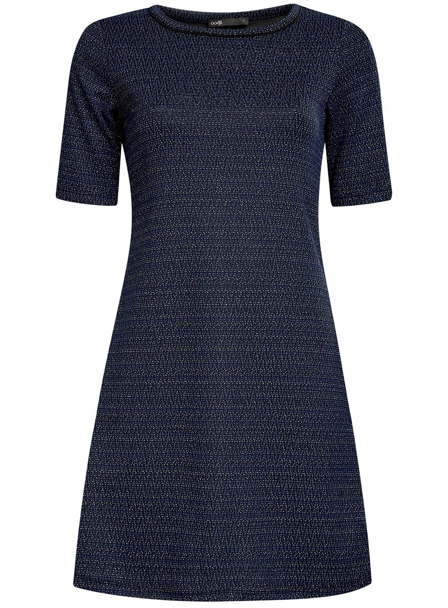 Платье oodji Ultra, цвет: темно-синий, черный. 14000158/46233/7929J. Размер XS (42)14000158/46233/7929JСтильное платье oodji Ultra, выполненное из качественного комбинированного материала, отлично дополнит ваш гардероб. Модель-миди с круглым вырезом горловины и короткими рукавами оформлено контрастным принтом и дополнено люрексом.