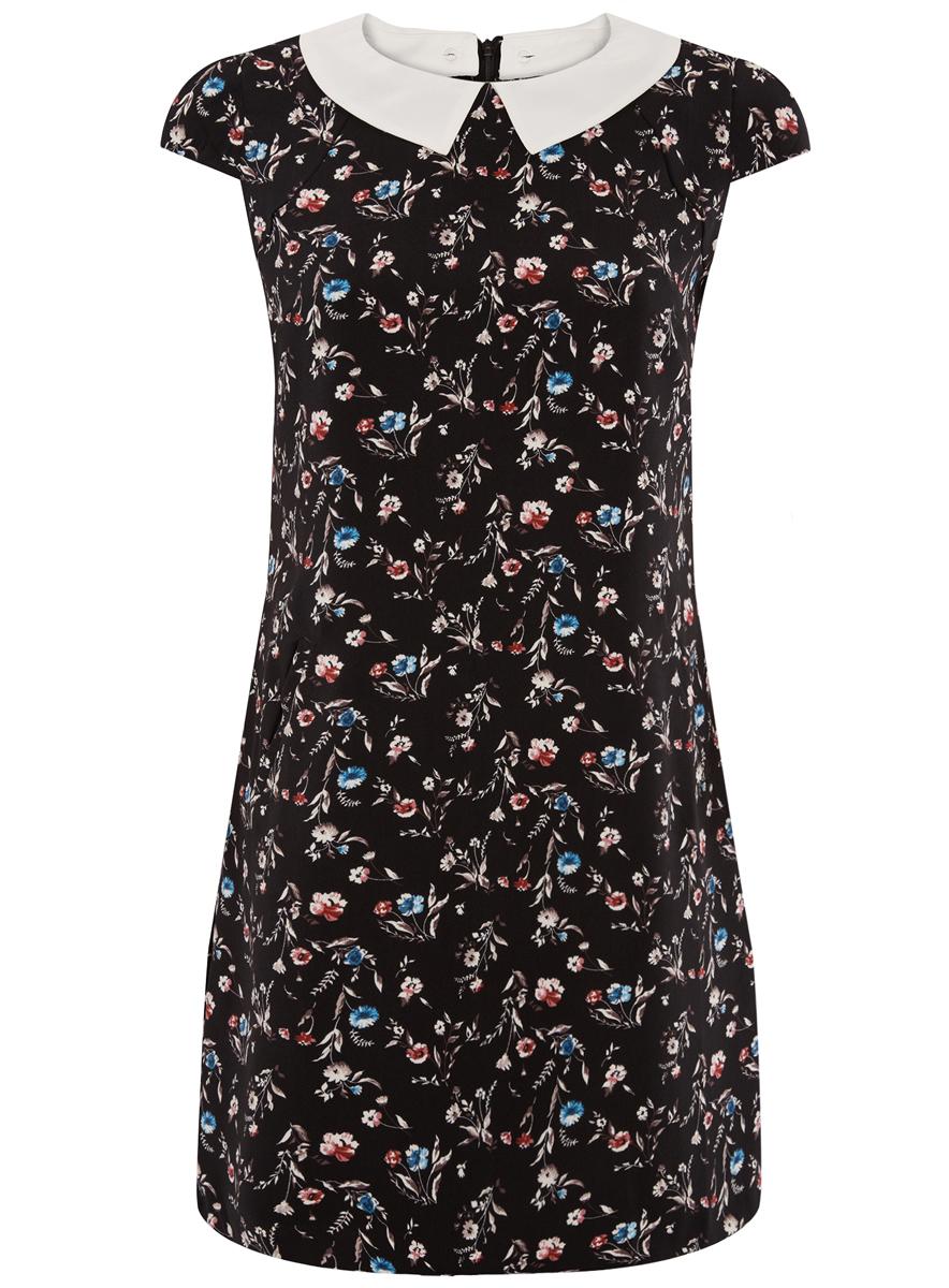 Платье oodji Ultra, цвет: черный, красный, голубой. 11910077-3/37888/2945F. Размер 38 (44-164)11910077-3/37888/2945FПлатье oodji Ultra изготовлено из плотного полиэстера с принтом в цветочек. Модель с круглым воротом имеет пристегивающийся на пуговицы отложной воротничок контрастного цвета. Спереди модель дополнена двумя прорезными карманами. Платье застегивается сзади на молнию. У модели имеется подкладка.