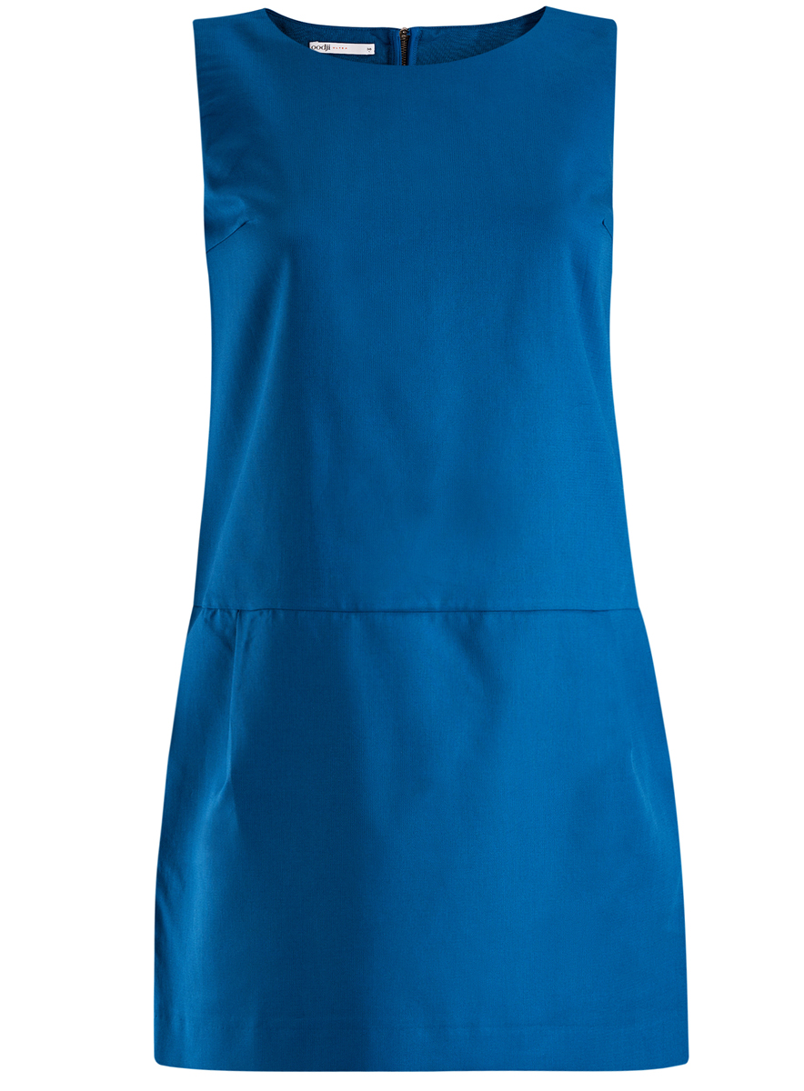 Платье oodji Ultra, цвет: синий. 11910072-1/35618/7500N. Размер 36 (42-170)11910072-1/35618/7500NПлатье oodji Ultra выполнено из высококачественного плотного хлопкового материала.Укороченная модель без рукавов имеет круглый вырез горловины и два втачных кармана. Платье застегивается на молнию на спинке. Стильное решение для любого мероприятия.