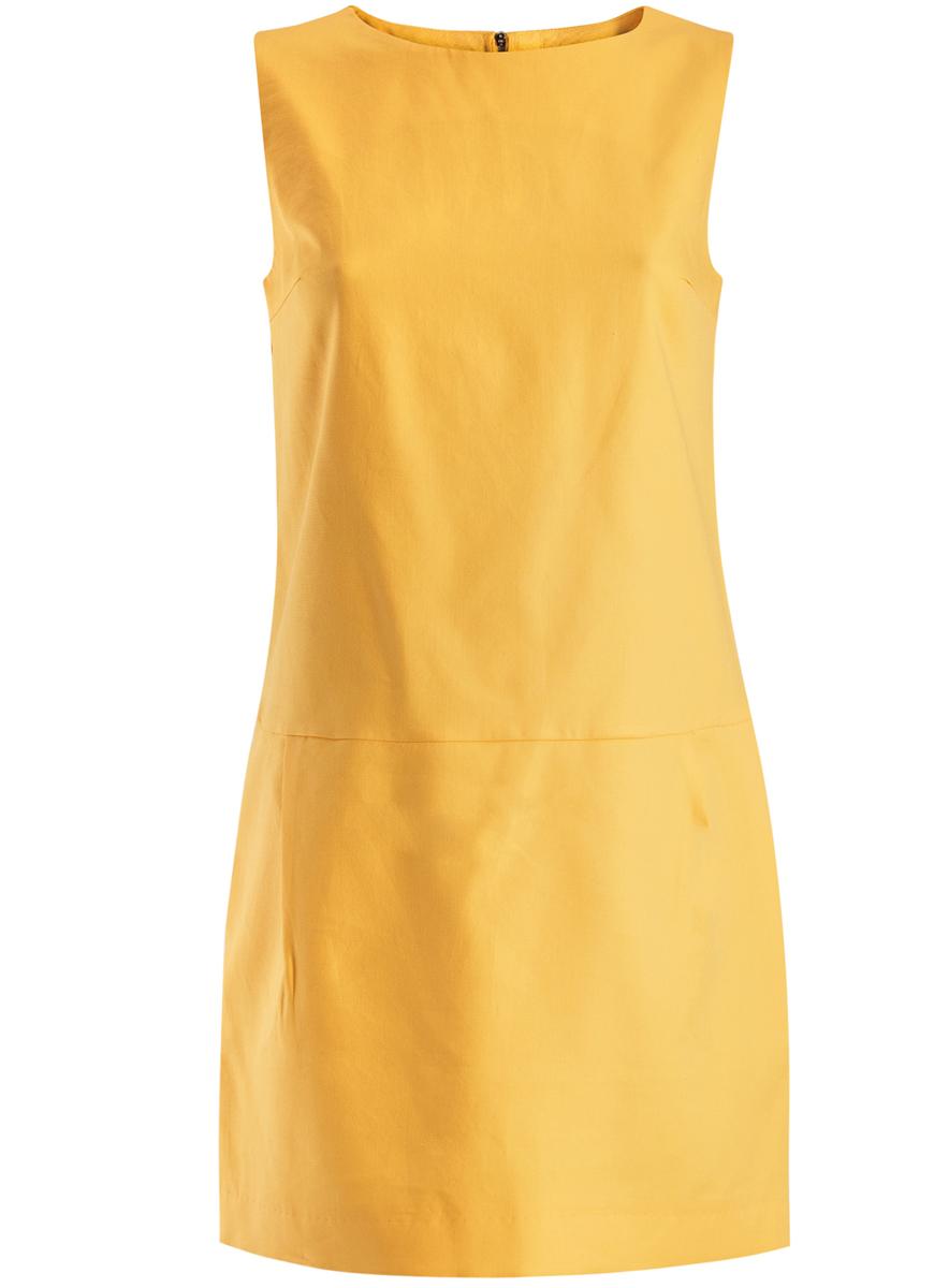 Платье oodji Ultra, цвет: желтый. 11910072-1/35618/5100N. Размер 34 (40-170)11910072-1/35618/5100NПлатье oodji Ultra выполнено из высококачественного плотного хлопкового материала.Укороченная модель без рукавов имеет круглый вырез горловины и два втачных кармана. Платье застегивается на молнию на спинке. Стильное решение для любого мероприятия.
