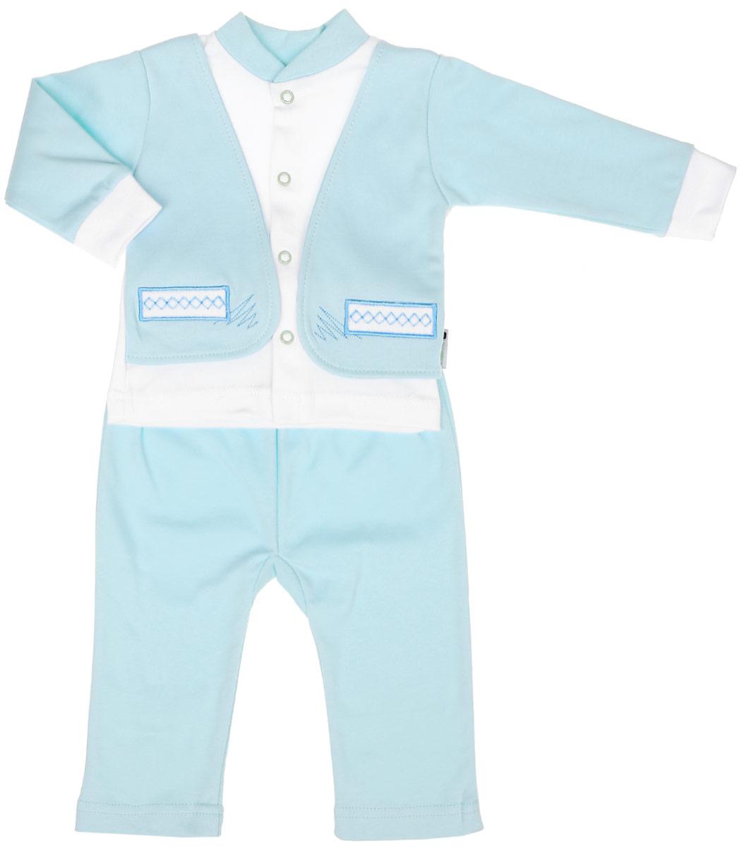 Комплект для мальчика Клякса: кофточка, штанишки, цвет: мятный, белый. 37к-2005. Размер 7437к-2005Комплект для мальчика Клякса, изготовленный из натурального хлопка, состоит из кофточки и штанишек. Кофточка с имитацией пиджака застегивается спереди на кнопки. Модель с длинными рукавами имеет круглый вырез горловины, дополненный мягкой трикотажной резинкой. На рукавах предусмотрены эластичные манжеты. Кофточка украшена вышивкой. Штанишки с завышенной линией талии имеют мягкий эластичный пояс.