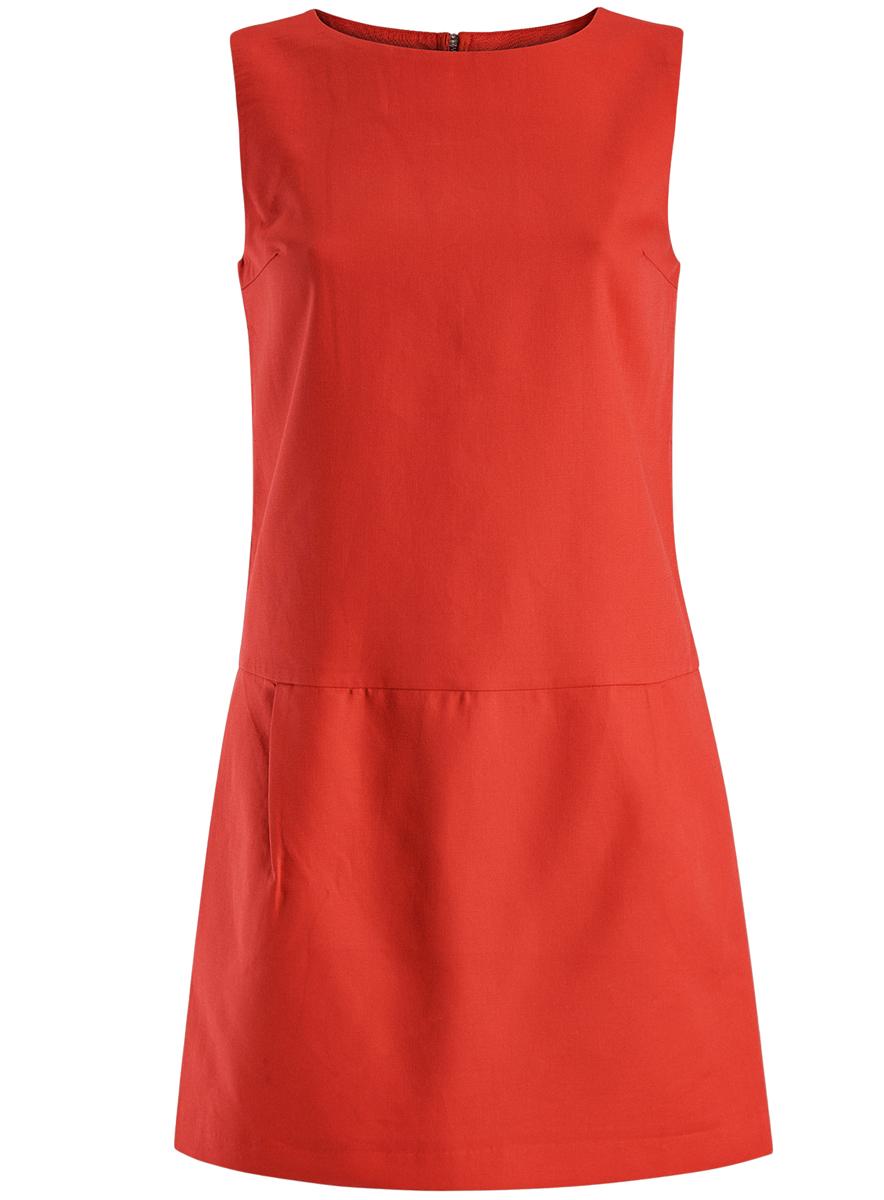 Платье oodji Ultra, цвет: красный. 11910072-1/35618/4500N. Размер 34 (40-170)11910072-1/35618/4500NПлатье oodji Ultra выполнено из высококачественного плотного хлопкового материала.Укороченная модель без рукавов имеет круглый вырез горловины и два втачных кармана. Платье застегивается на молнию на спинке. Стильное решение для любого мероприятия.
