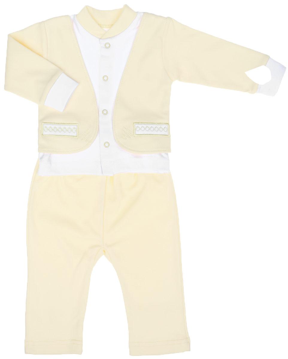 Комплект для мальчика Клякса: кофточка, штанишки, цвет: светло-желтый, белый. 37к-2005. Размер 7437к-2005Комплект для мальчика Клякса, изготовленный из натурального хлопка, состоит из кофточки и штанишек. Кофточка с имитацией пиджака застегивается спереди на кнопки. Модель с длинными рукавами имеет круглый вырез горловины, дополненный мягкой трикотажной резинкой. На рукавах предусмотрены эластичные манжеты. Кофточка украшена вышивкой. Штанишки с завышенной линией талии имеют мягкий эластичный пояс.