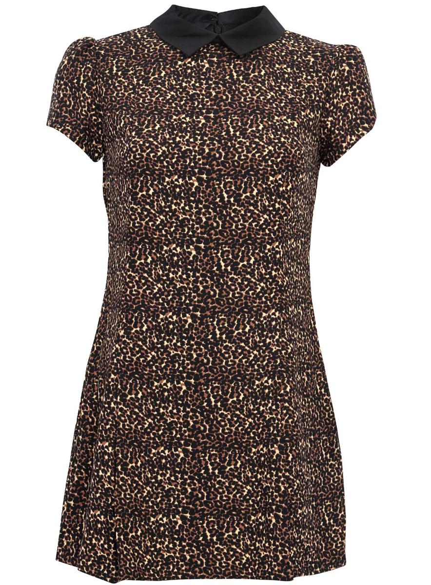 Платье oodji Ultra, цвет: бежевый, черный. 11902153-1/45079/3329A. Размер 42 (48-170)11902153-1/45079/3329AМодное платье oodji Ultra станет отличным дополнением к вашему гардеробу. Модель выполнена из качественного материала, на подкладке из полиэстера.Платье-мини с отложным воротником и короткими рукавами-фонариками застегивается сзади по спинке на застежку-молнию и пуговицу. Оформлено платье стильным леопардовым принтом.