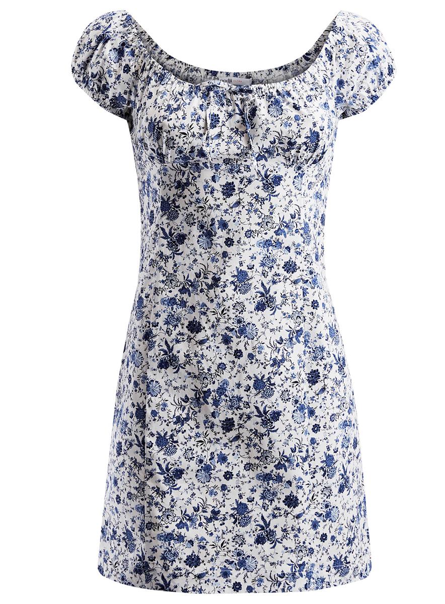 Платье oodji Ultra, цвет: белый, синий. 11902047-3/14885/1275F. Размер 44 (50-170)11902047-3/14885/1275FПлатье oodji Ultra исполнено из плотной дышащей ткани. Платье имеет рукава-фонарики отороченные резинкой. Оформлено бантиком на груди. Изделие застегивается сбоку на молнию.