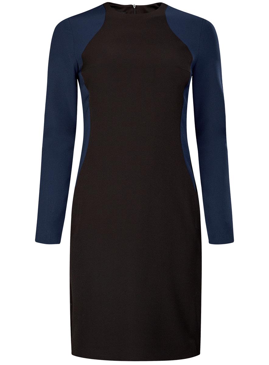 Платье oodji Ultra, цвет: черный, темно-синий. 11900174-1/38463/2979B. Размер 34 (40-170)11900174-1/38463/2979BМодное платье oodji Ultra выполнено из полиэстера с добавлением полиуретана. Платье-миди с круглым воротником и длинными рукавами сзади застегивается на скрытую застежку-молнию.