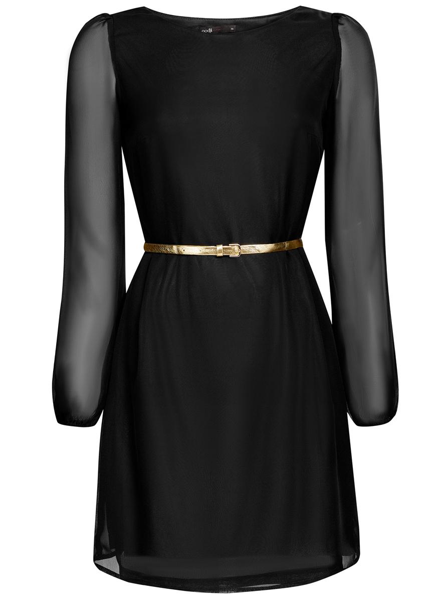 Платье oodji Ultra, цвет: черный. 11900150-5/13632/2900N. Размер 40 (46-170)11900150-5/13632/2900NСтильное платье oodji Ultra, выполненное из качественного полиэстера, на подкладке также из полиэстера, отлично дополнит ваш гардероб. Модель-миди с круглым вырезом горловины и стандартными длинными рукавами оформлено в лаконичном стиле.Ремешок в комплект не входит.