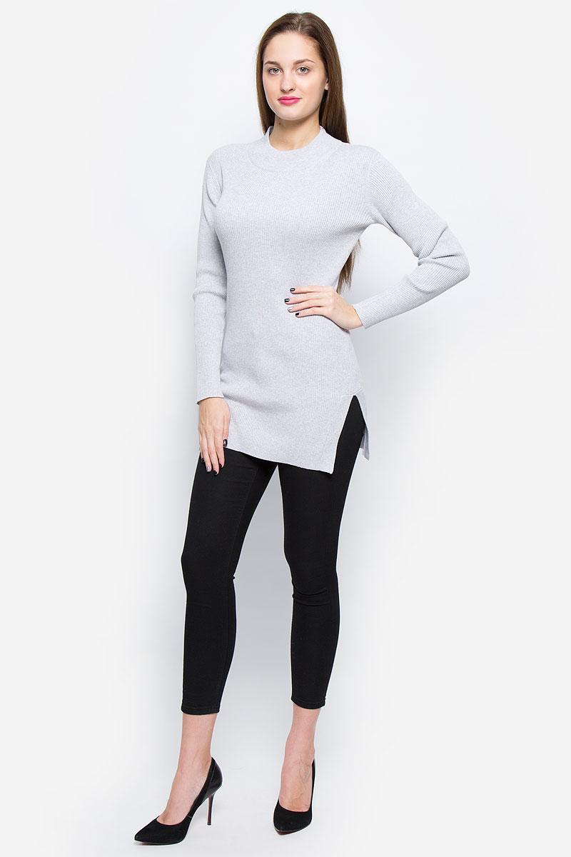 Джемпер женский Glamorous, цвет: светло-серый меланж. CK3304. Размер XS (42)CK3304_Light GreyЖенский джемпер Glamorous выполнен из натурального хлопка. Удлиненная модель связана резинкой. Джемпер с круглым вырезом горловины и длинными рукавами имеет разрезы по бокам.