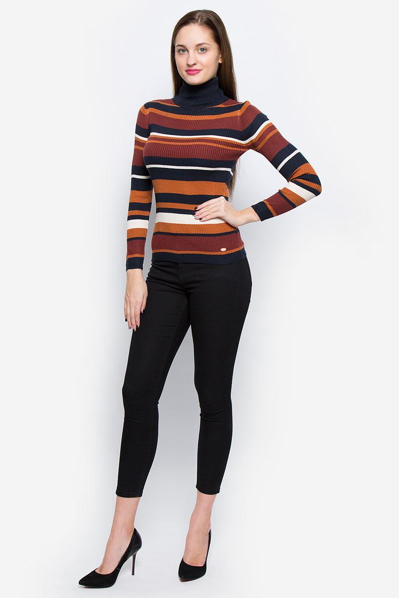 Водолазка женская Tom Tailor Denim, цвет: темно-синий, кирпичный, коричневый. 3021828.00.71_4504. Размер XS (42)3021828.00.71_4504Модная женская водолазка Tom Tailor Denim выполнена из полиакрила. Модель с воротником-гольф и длинными рукавами оформлена принтом в разноцветную полоску.