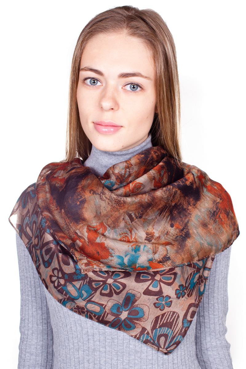 Палантин Sophie Ramage, цвет: коричнево-бежевый, темно-бирюзовый, оранжевый. YY-21682-19. Размер 90 см х 180 смYY-21682-19Стильный женский палантин Sophie Ramage станет великолепным завершением любого наряда.Палантин изготовлен из 100% вискозы и оформлен нежным цветочным принтом. Изящный палантин поможет вам создать изысканный женственный образ, а также согреет в непогоду.