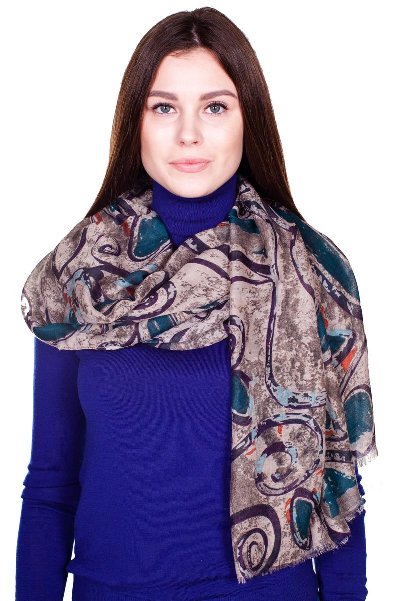 Палантин Sophie Ramage, цвет: коричневый, темно-бирюзовый. YY-21664-2. Размер 80 см х 180 смYY-21664-2Стильный женский палантин Sophie Ramage станет великолепным завершением любого наряда.Палантин изготовлен из модала и шерсти, и оформлен нежным принтом. По краям модель дополнена неширокой бахромой. Изящный палантин поможет вам создать изысканный женственный образ, а также согреет в непогоду.