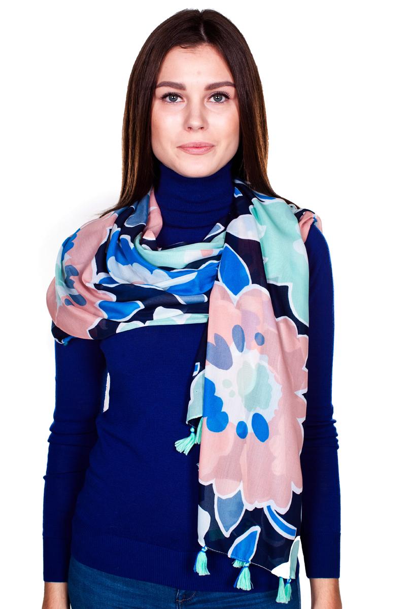 Палантин Sophie Ramage, цвет: синий, розовый, голубой. YY-21644-11. Размер 100 см x 100 смYY-21644-11Стильный женский палантин Sophie Ramage станет великолепным завершением любого наряда.Палантин изготовлен из модала с добавлением шелка и оформлен ярким цветочным принтом. По краям модель дополнена кистями бахромы. Изящный палантин поможет вам создать изысканный женственный образ, а также согреет в непогоду.