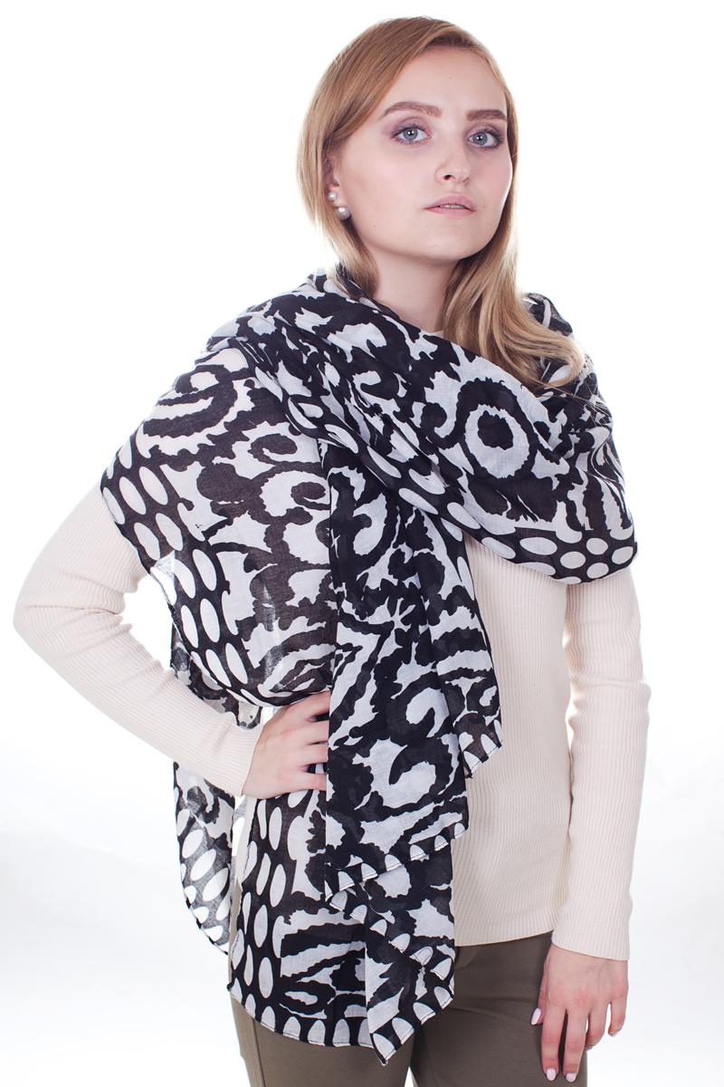 Палантин Sophie Ramage, цвет: черный. YY-21667-25. Размер 30 см x 165 смYY-21667-25Стильный женский палантин Sophie Ramage станет великолепным завершением любого наряда.Палантин изготовлен из модала с добавлением шерсти и оформлен оригинальными узорами. Изящный палантин поможет вам создать изысканный женственный образ, а также согреет в непогоду.