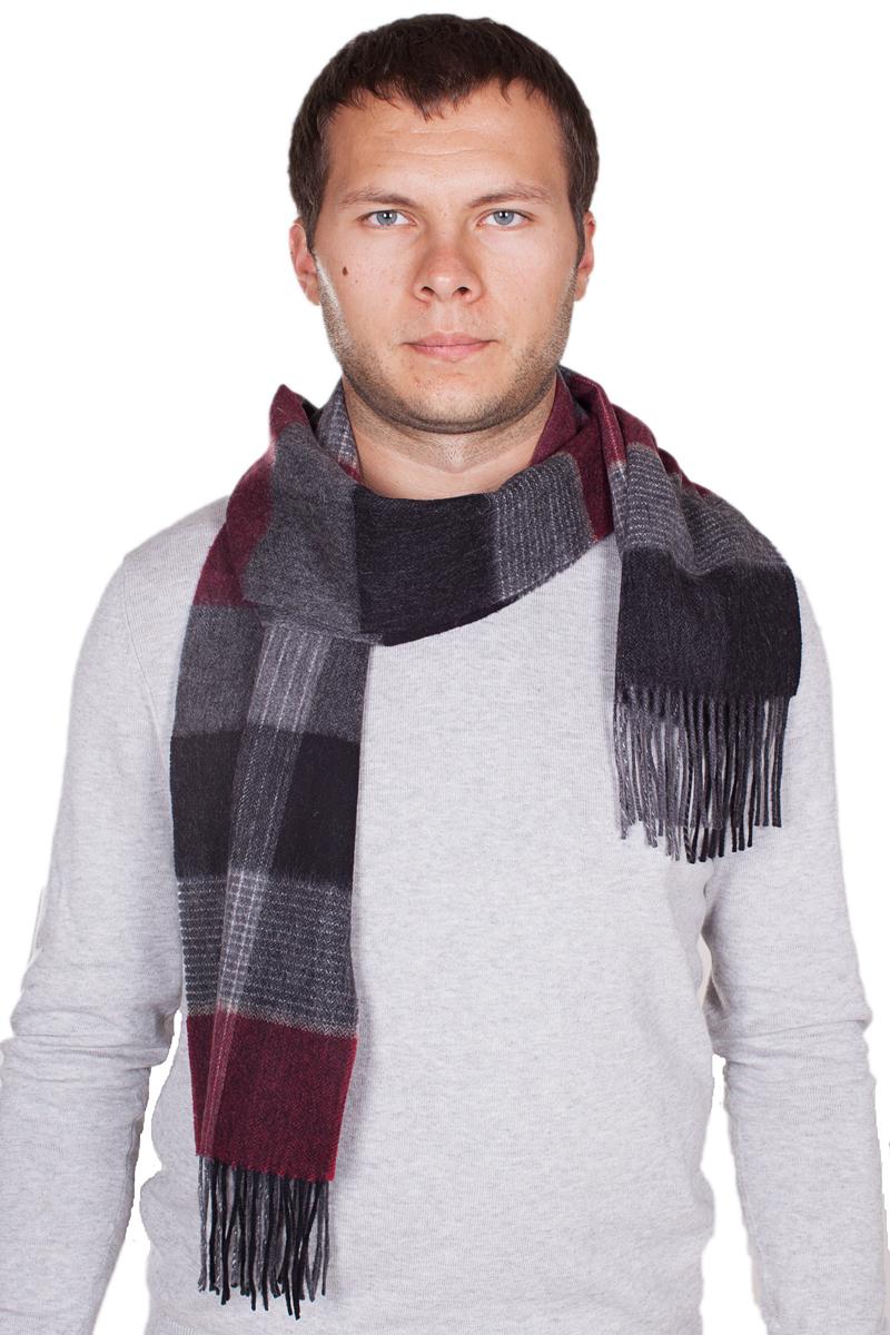 Шарф мужской Paccia, цвет: бордовый, темно-серый. TH-21522-10. Размер 80 см х 180 смTH-21522-10Стильный шарф Paccia согреет вас в прохладную погоду и станет отличным завершением вашего образа. Шарф изготовлен из натуральной шерсти и оформлен вязкой клетка. Материал мягкий и приятный на ощупь, хорошо драпируется. По краям модель дополнена кистями бахромы.Этот модный аксессуар гармонично дополнит любой наряд и подчеркнет ваш изысканный вкус.