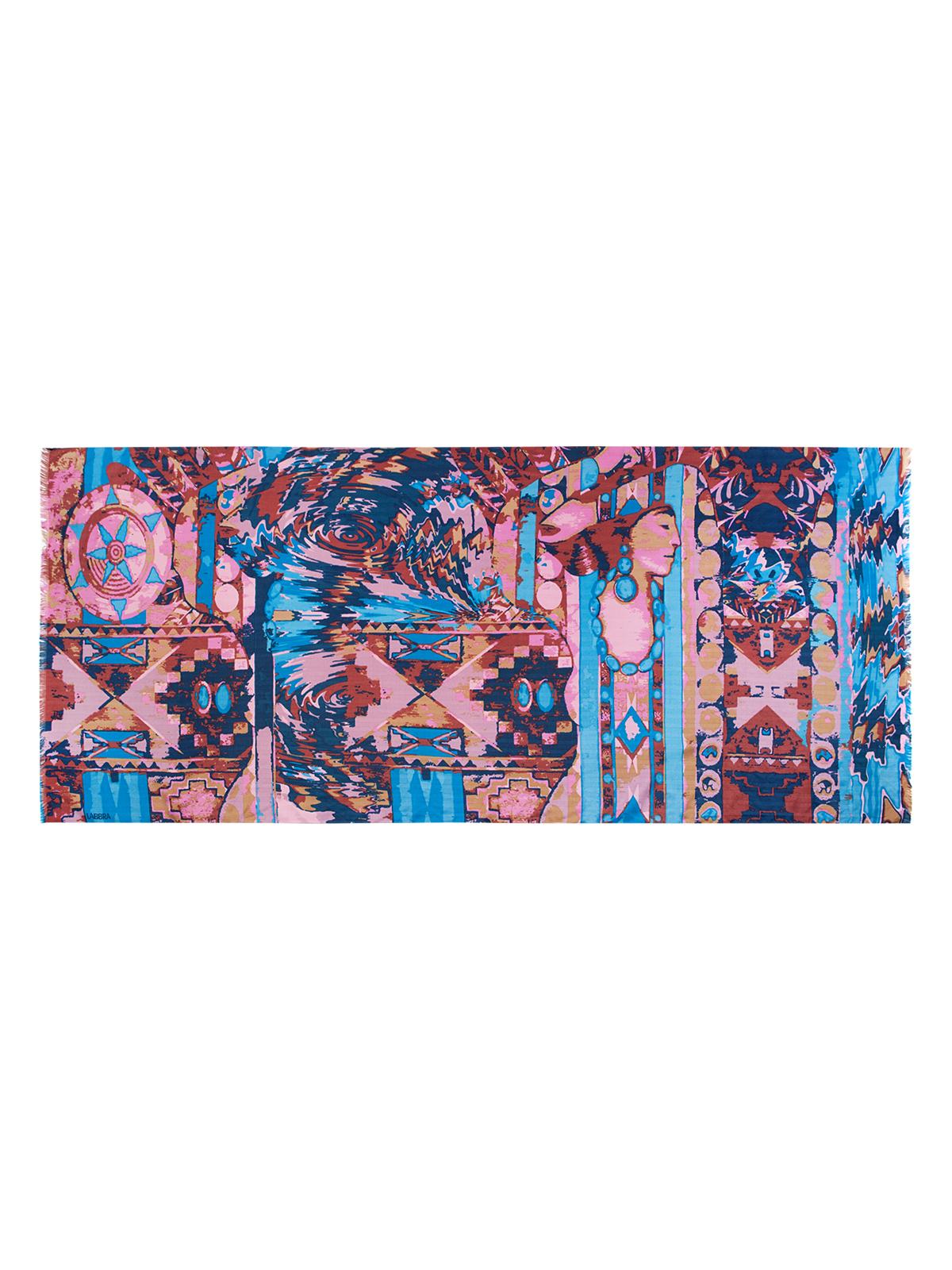 Палантин Labbra, цвет: темно-синий, мультицвет. LSZ33-527. Размер 70 см х 180 смLSZ33-527Палантин от Labbra изготовлен из вискозы с добавлением шерсти и оформлен ярким принтом. Изделие с машинной подгибкой, края декорированы бахромой.