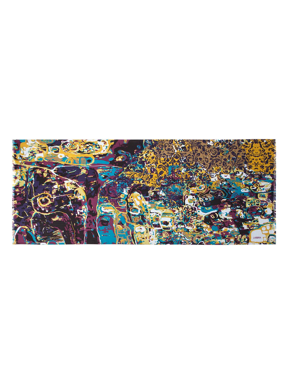 Палантин Labbra, цвет: фиолетовый, мультицвет. LSZ33-528. Размер 70 см х 180 смLSZ33-528Палантин от Labbra изготовлен из вискозы с добавлением шерсти и оформлен ярким принтом. Изделие с машинной подгибкой, края декорированы бахромой.
