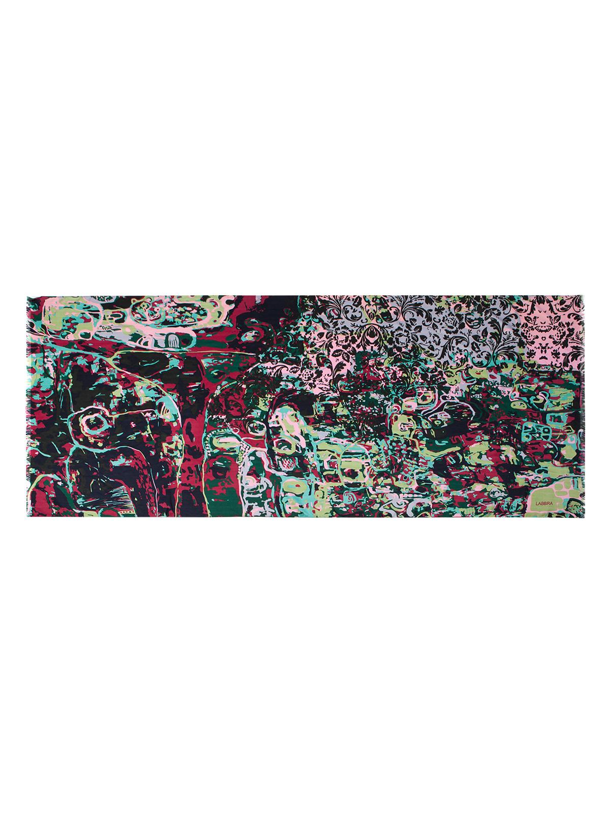 Палантин Labbra, цвет: зеленый, мультицвет. LSZ33-528. Размер 70 см х 180 смLSZ33-528Палантин от Labbra изготовлен из вискозы с добавлением шерсти и оформлен ярким принтом. Изделие с машинной подгибкой, края декорированы бахромой.