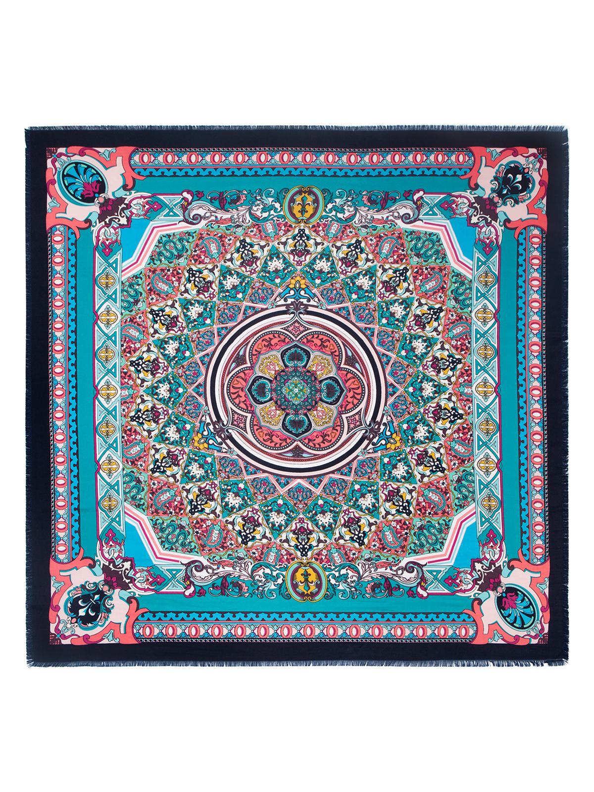 Платок женский Labbra, цвет: бирюзовый, мультиколор. LSZ33-526. Размер 110 см х 110 смLSZ33-526Платок от Labbra изготовлен из вискозы с добавлением шерсти и оформлен ярким принтом. Края изделия декорированы бахромой.