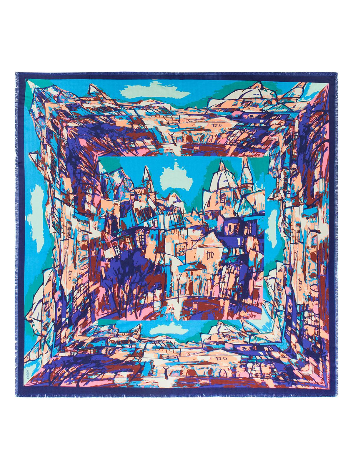 Платок женский Labbra, цвет: синий, мультицвет. LSZ33-529. Размер 140 см х 140 смLSZ33-529Платок от Labbra изготовлен из вискозы с добавлением шерсти и оформлен ярким принтом. Края изделия декорированы бахромой.